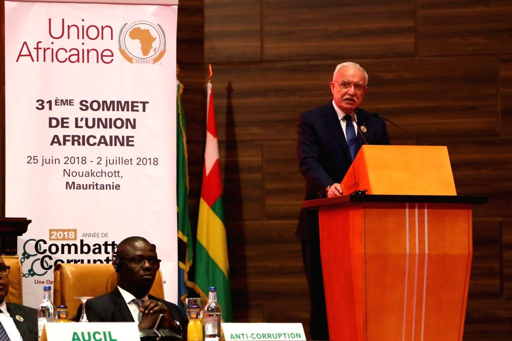 NOUAKCHOTT, July 2, 2018 - Palestinian Minister of Foreign Affairs Riyad al-Maliki delivers a speech at the 31st Summit of the African Union (AU) in Nouakchott, the capital of Mauritania, on July 1, ... - Malik