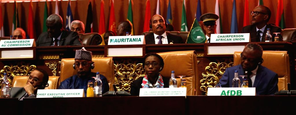 NOUAKCHOTT, July 2, 2018 - Participants attend the 31st Summit of the African Union (AU), in Nouakchott, the capital of Mauritania, on July 1, 2018. African leaders met here for the 31st AU summit on ...