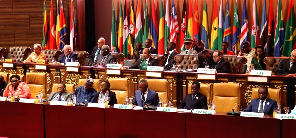 NOUAKCHOTT, July 2, 2018 - Participants attend the 31st Summit of the African Union (AU) in Nouakchott, the capital of Mauritania, on July 1, 2018. African leaders met here for the 31st AU summit on ...