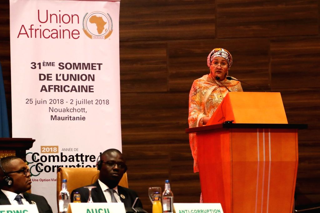 NOUAKCHOTT, July 2, 2018 - UN Deputy Secretary-General Amina J. Mohammed delivers a speech at the 31st Summit of the African Union (AU) in Nouakchott, the capital of Mauritania, on July 1, 2018. ...
