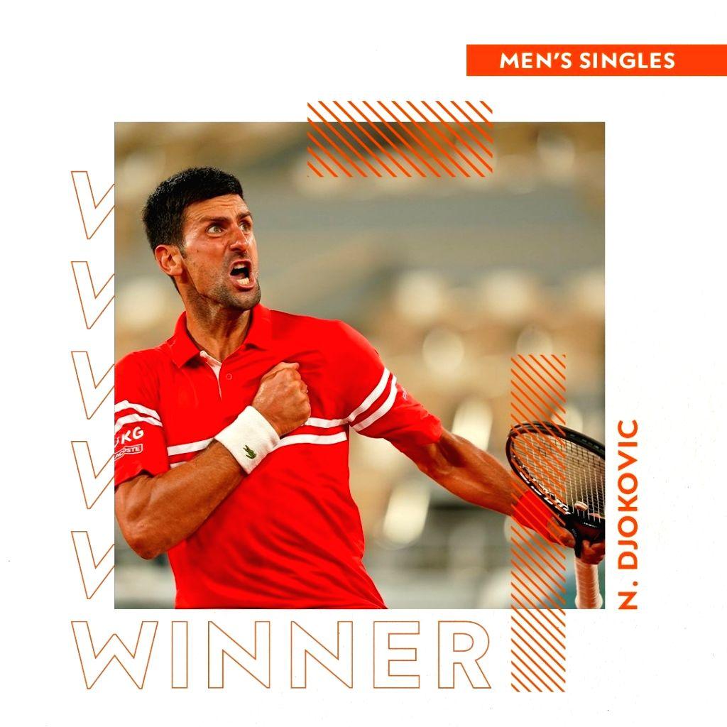 Novak Djokovic wins french open on Sunday (Credit : french open/twitter)