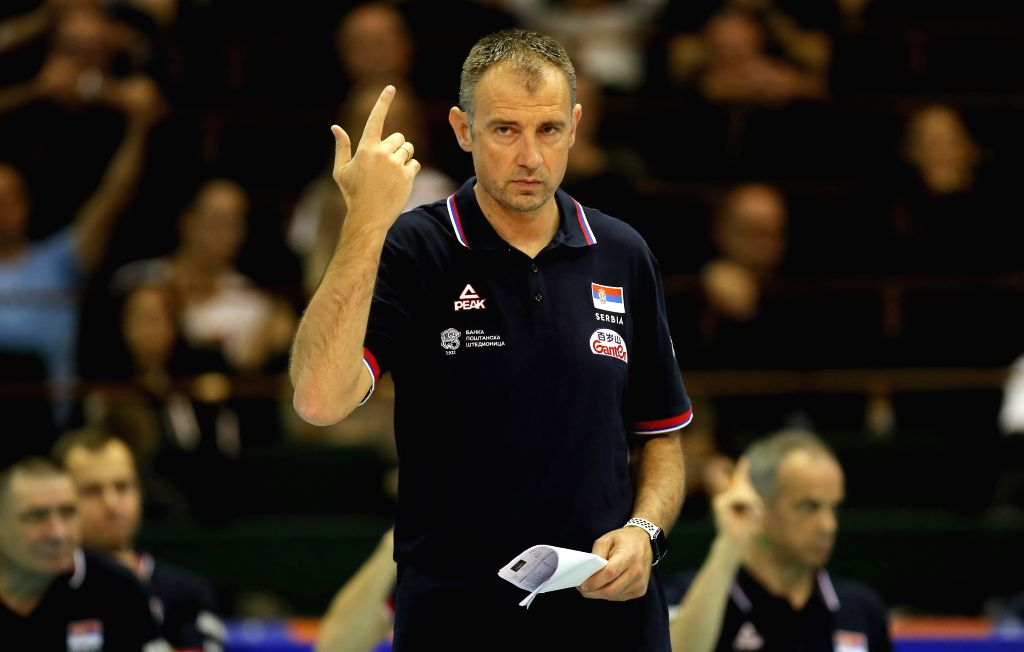NOVI SAD, June 1, 2019 - Serbia's head coach Nikola Grbic gestures during the Men's Volleyball Nations League match between Serbia and Japan in Novi Sad, Serbia, on May 31, 2019. Japan won 3-1.