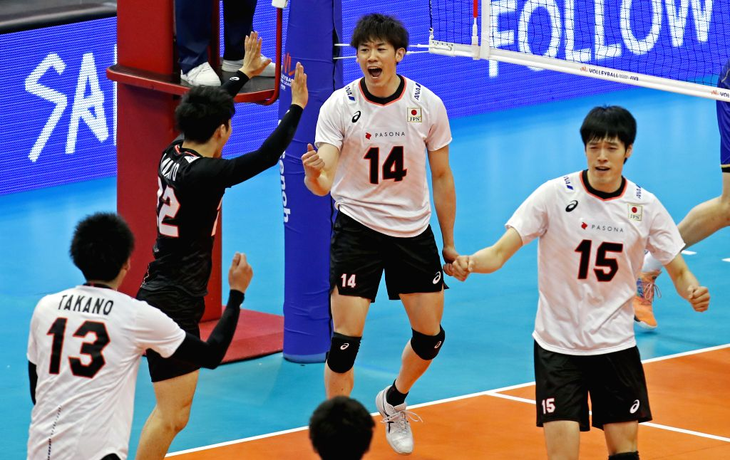 NOVI SAD, June 3, 2019 - Japan's Yuki Ishikawa (C) and Haku Ri (R) celebrate during the FIVB Men's Volleyball Nations League match between Japan and France in Novi Sad, Serbia, June 2, 2019. France ...