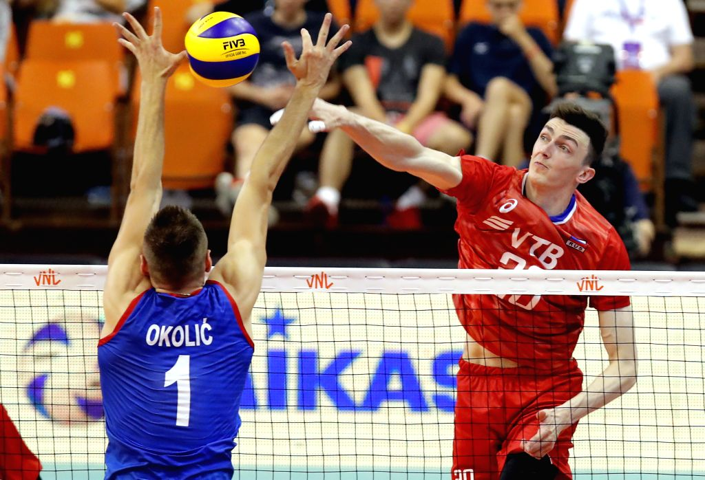 NOVI SAD, June 3, 2019 - Russia's Ilyas Kurkaev (R) spikes during the FIVB Men's Volleyball Nations League match between Russia and Serbia in Novi Sad, Serbia, June 2, 2019. Russia won 3-2.