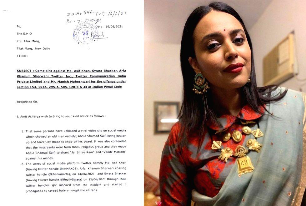 Now complaint against Swara Bhaskar, Twitter,Twitter INC, Manish Maheshwari, Arkansas Khanum and others at Ps Tilak Marg.