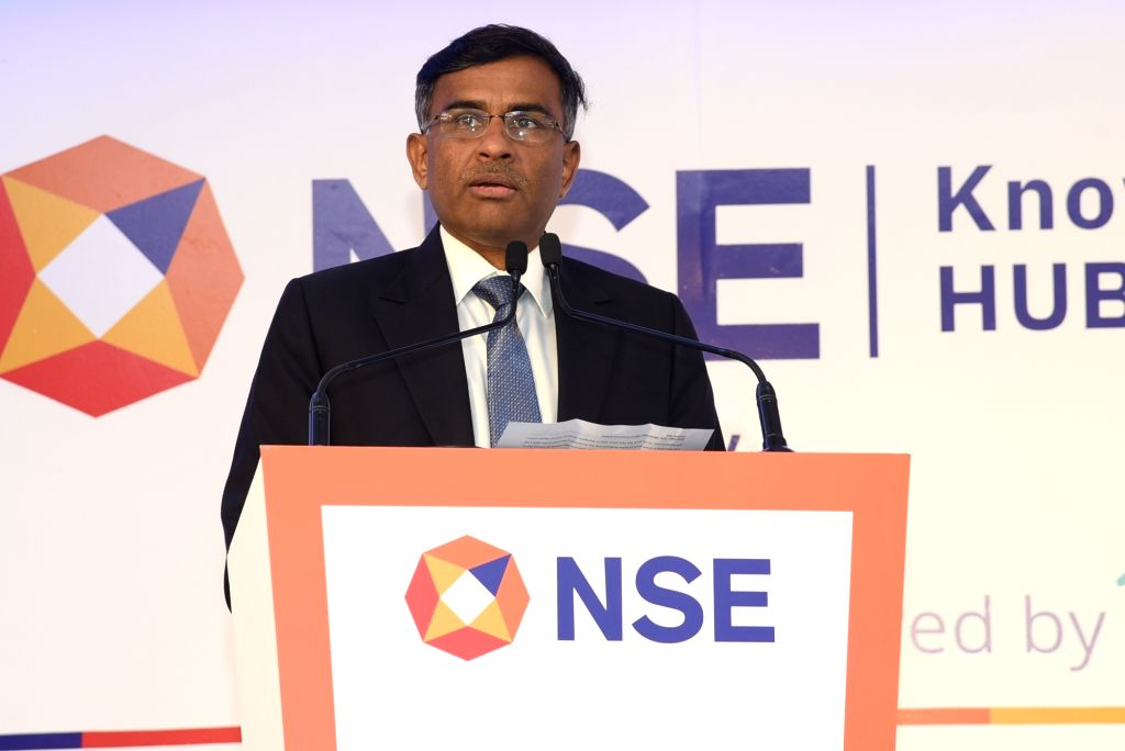 NSE MD & CEO Vikram Limaye addresses at the inauguration of The National Stock Exchange (NSE) Knowledge Hub in New Delhi on Jan 6, 2020.