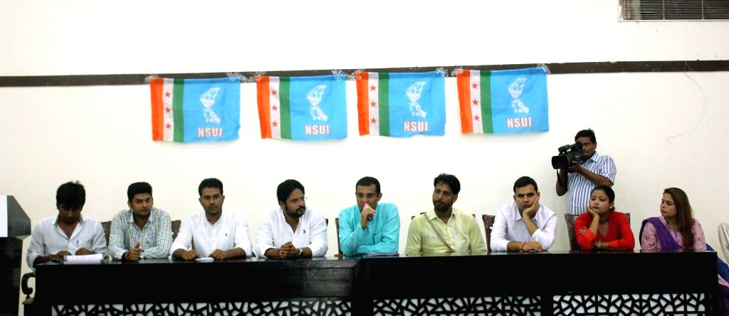 NSUI activists address a press conference in New Delhi on Aug 13, 2015.