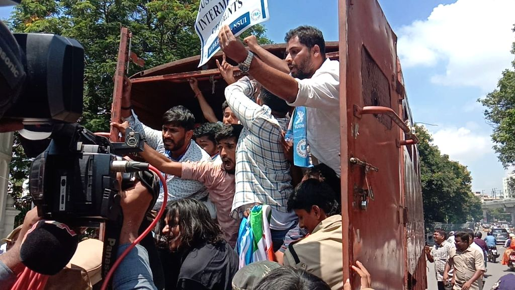 NSUI activists staging a demonstration to press for their various demands being detained after they tried to enter the Telangana Assembly during their protest, in Hyderabad on Sep 21, 2019.
