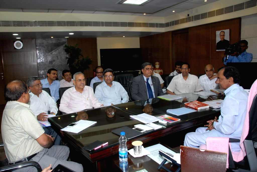 NTPC Limited CMD Arup Roy Choudhury during a meeting with Telangana Chief Minister K Chandrasekhar Rao in Hyderabad on July 8, 2014. - K Chandrasekhar Rao and Arup Roy Choudhury