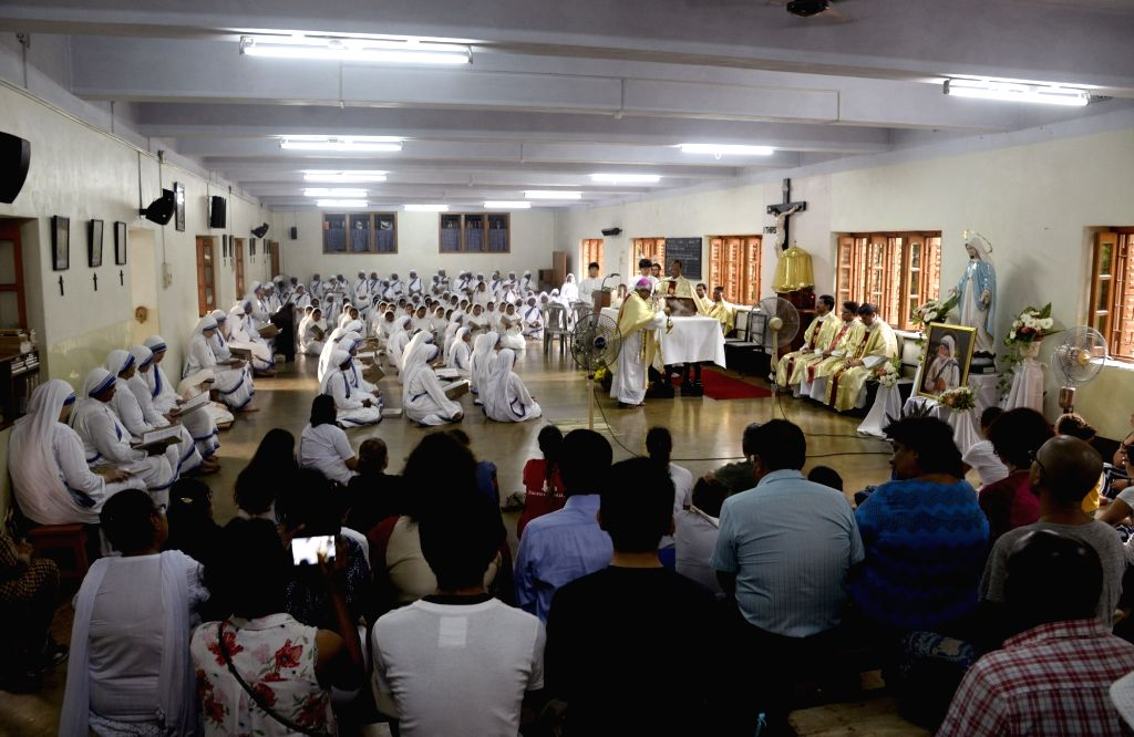 Nuns and devotees participate in peace prayers on the 109th birth anniversary of Mother Teresa at Mother House, in Kolkata on Aug 26, 2019.