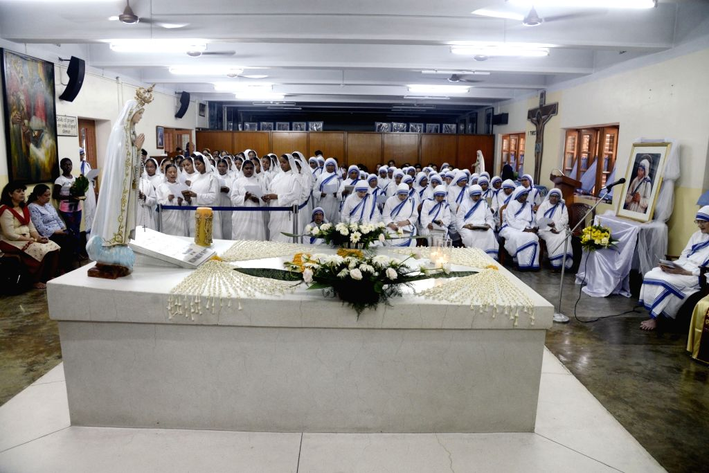 Nuns participate in peace prayers on the 109th birth anniversary of Mother Teresa at Mother House, in Kolkata on Aug 26, 2019.