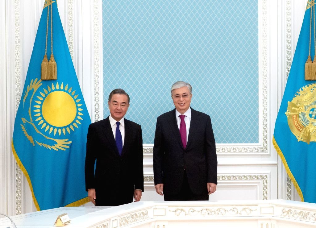 Nur-Kazakh President Kassym-Jomart Tokayev (R) meets with Chinese State Councilor and Foreign Minister Wang Yi in Nur-Sultan, Kazakhstan, on Sept. 12, 2020. - Wang Y