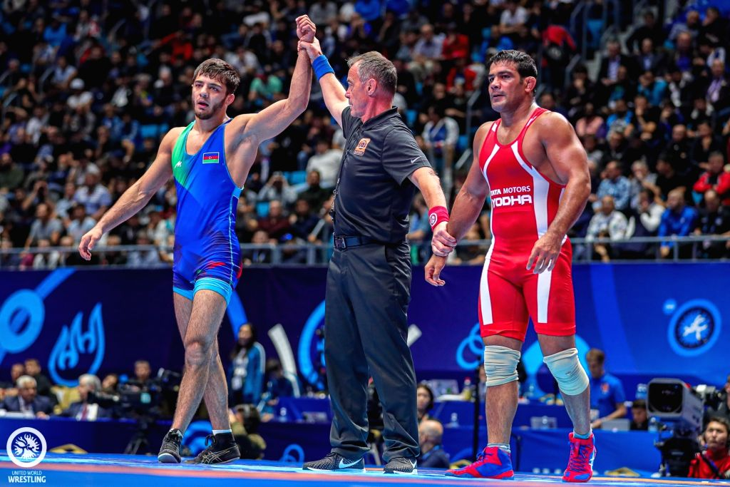 Nur-Sultan: India's Sushil Kumar after losing his first-round bout to Azerbaijan's Khadzhimurad Gadzhiyev 9-11 in the 74-kg freestyle category at the ongoing World Wrestling Championships in ... - Sushil Kumar