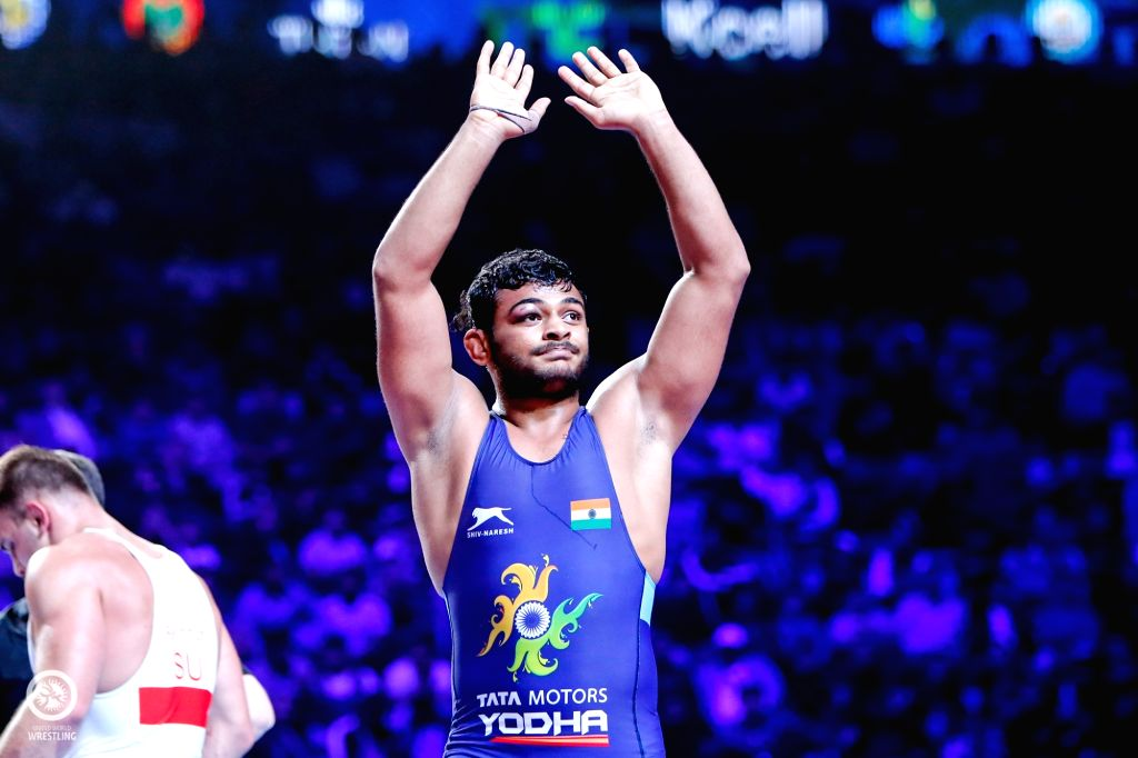 Nur-Sultan: Junior World Champion Deepak Punia after defeating Colombian grappler Carlos Mendez 7-6 in the quarter-finals in 86-kg freestyle category during the ongoing World Wrestling Championships ...