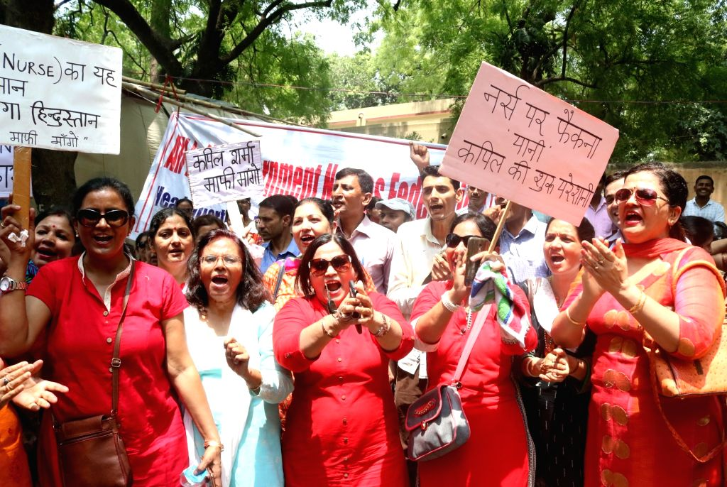 Nurses demonstrate against Kapil Sharma