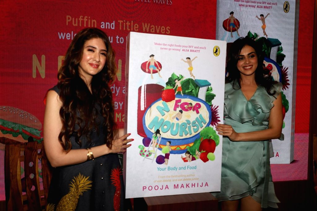 """Nutritionist Pooja Makhija with actress Genelia D'Souza at the launch of her book """"N for Nourish"""" in Mumbai on Oct 10, 2019. - Genelia D'Souza"""