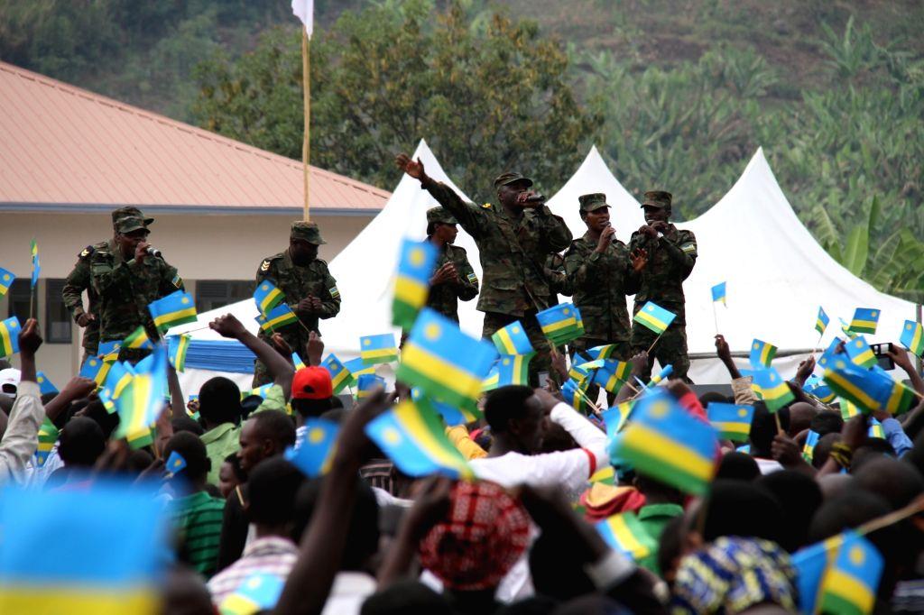 NYABIHU (RWANDA), July 4, 2017 Members of an army band perform during the celebration of Liberation Day in Nyabihu district, western Rwanda, on July 4, 2017. Rwanda on Tuesday marked the ...