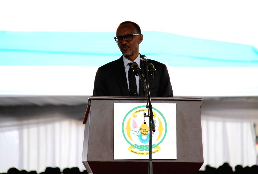 NYABIHU (RWANDA), July 4, 2017 Rwandan President Paul Kagame speaks during the celebration of Liberation Day in Nyabihu district, western Rwanda, on July 4, 2017. Rwanda on Tuesday marked ...