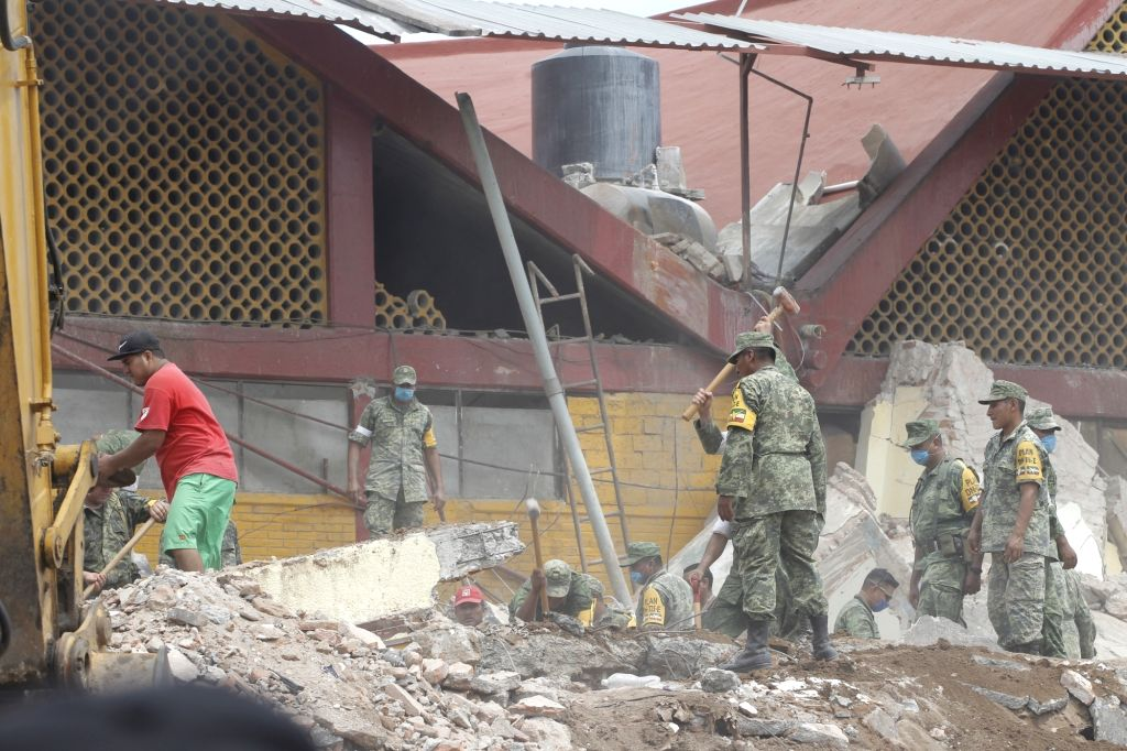 OAXACA (MEXICO), Sept. 9, 2017 Photo taken on Sept. 8, 2017, shows a damaged house after an earthquake in Oaxaca state, Mexico. A powerful earthquake measuring 8.2 on the Richter scale ...