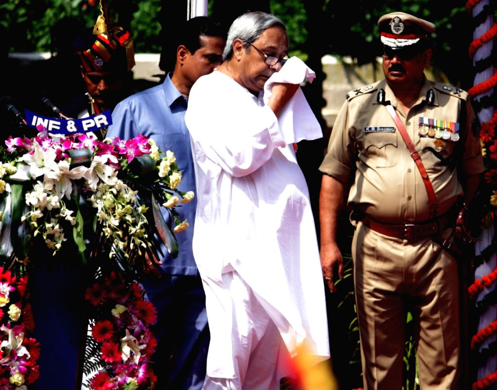 Odisha Chief Minister Naveen Patnaik falls ill while addressing the gathering at the Independence Day function in Bhubaneswar, on Aug 15, 2017. (Photo : IANS) - Naveen Patnaik
