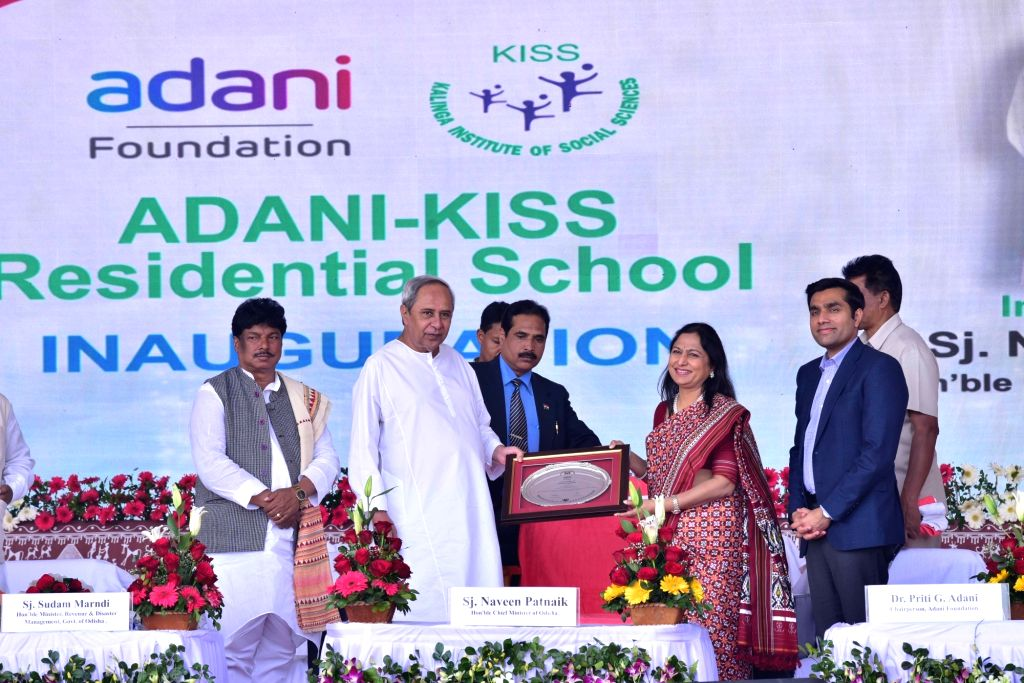 Odisha's Revenue and Disaster Management Minister Sudam Marandi, Chief Minister Naveen Patnaik, Adani Foundation Chairperson Priti Adani and Adani Ports and Special Economic Zone Ltd Chief Executive ... - Sudam Marandi