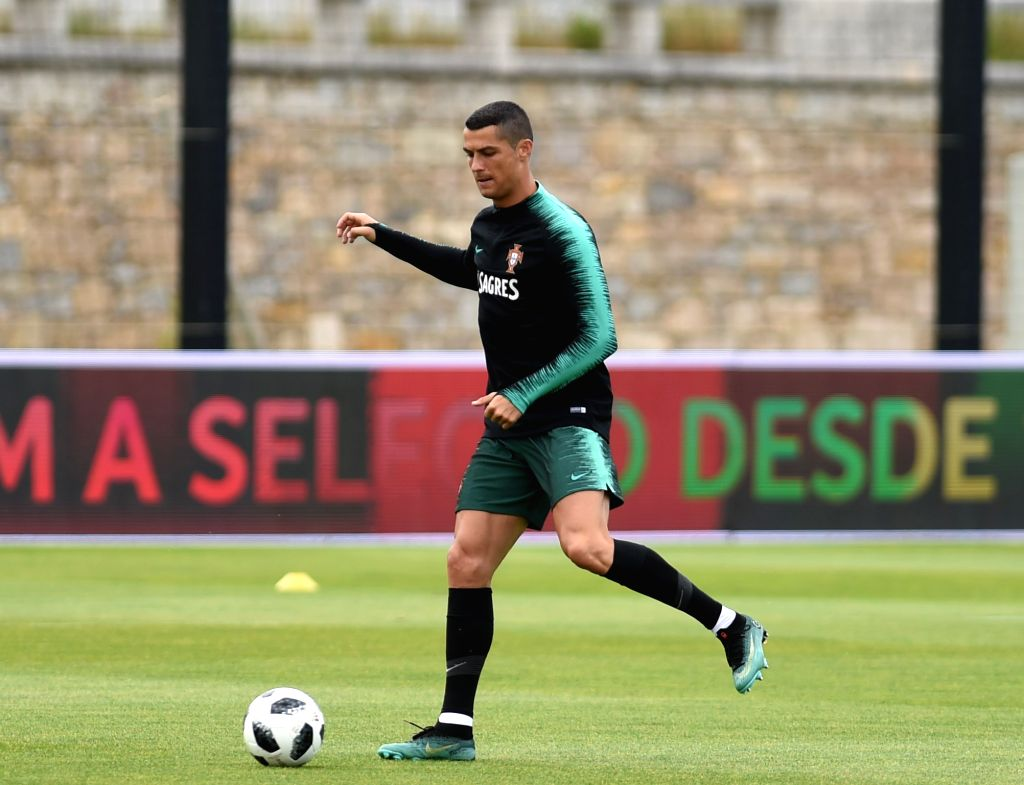 OEIRAS, June 5, 2018 - Portugal's Cristiano Ronaldo attends a training session for 2018 Russia World Cup of Portugal's national soccer team in Oeiras, Portugal, June 5, 2018.