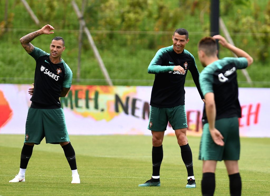 OEIRAS, June 5, 2018 - Portugal's Cristiano Ronaldo (C) reacts during a training session for 2018 Russia World Cup of Portugal's national soccer team in Oeiras, Portugal, June 5, 2018.