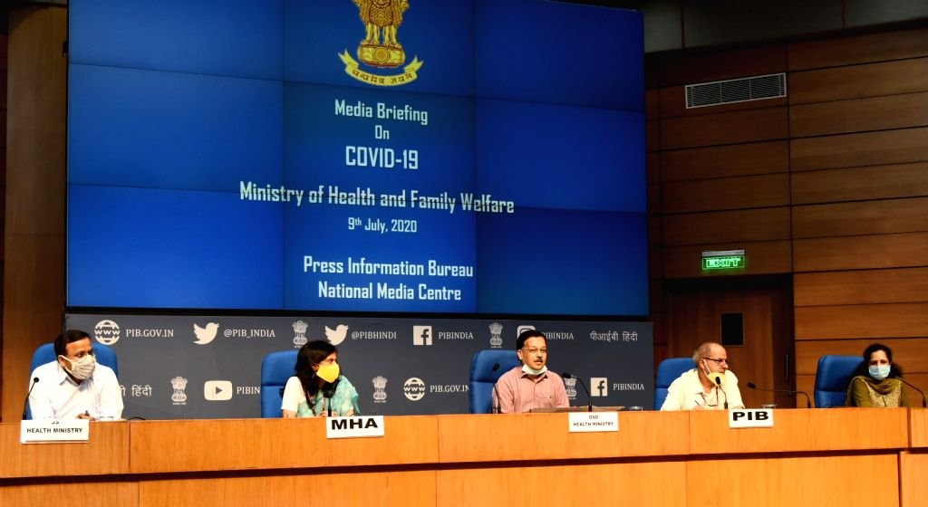 Officer on Special Duty (OSD), Ministry of Health and Family Welfare (MoHFW) Rajesh Bhushan holds a press briefing on the actions taken, preparedness and updates on COVID-19, in New Delhi ...