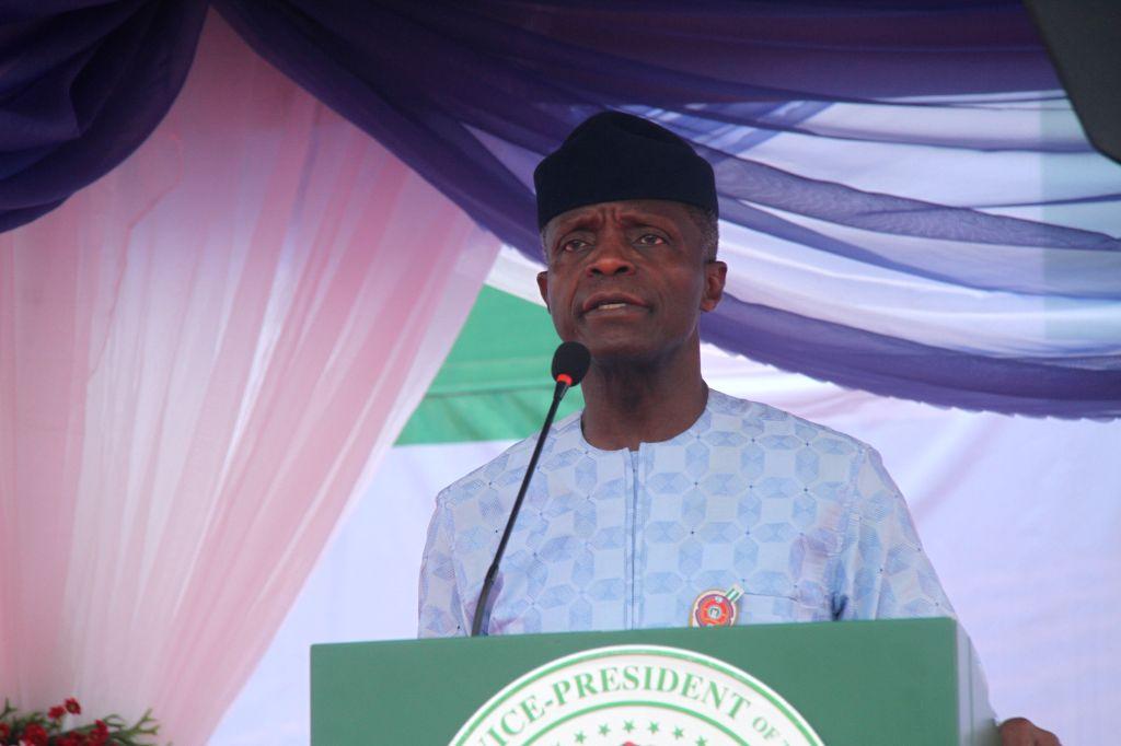 OGUN, Nov. 10, 2019 - Nigeria's Vice President Yemi Osinbajo speaks at the groundbreaking ceremony for the country's first rolling stock assembly plant in Kajola, Ogun state, Nigeria, Nov. 9, 2019. ... - Kajol