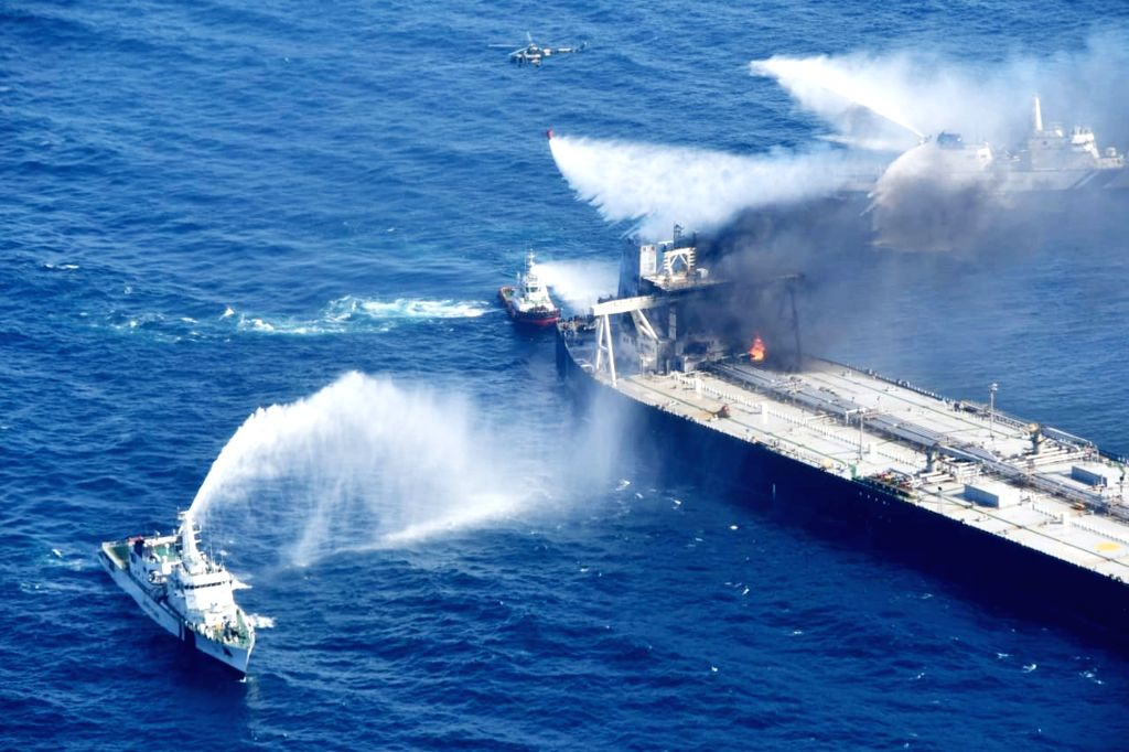 Oil tanker fire doused, ship stability within safe zone