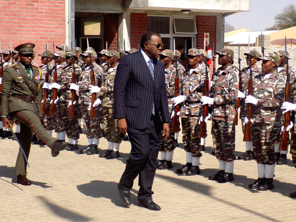 OKAHANDJA (NAMIBIA), Oct. 17, 2019 Namibian President Hage Geingob (R, front) inspects the guard of honor at the Chinese-funded Namibia Command and Staff College in Okahandja, Namibia, on ...