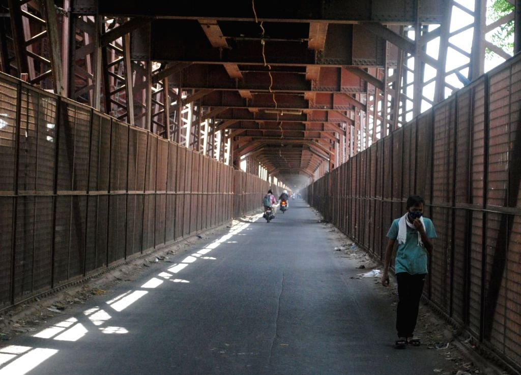 Old Arin bridge closed for people during weekdays lockdown in New Delhi on Sunday, 18th April,2021.