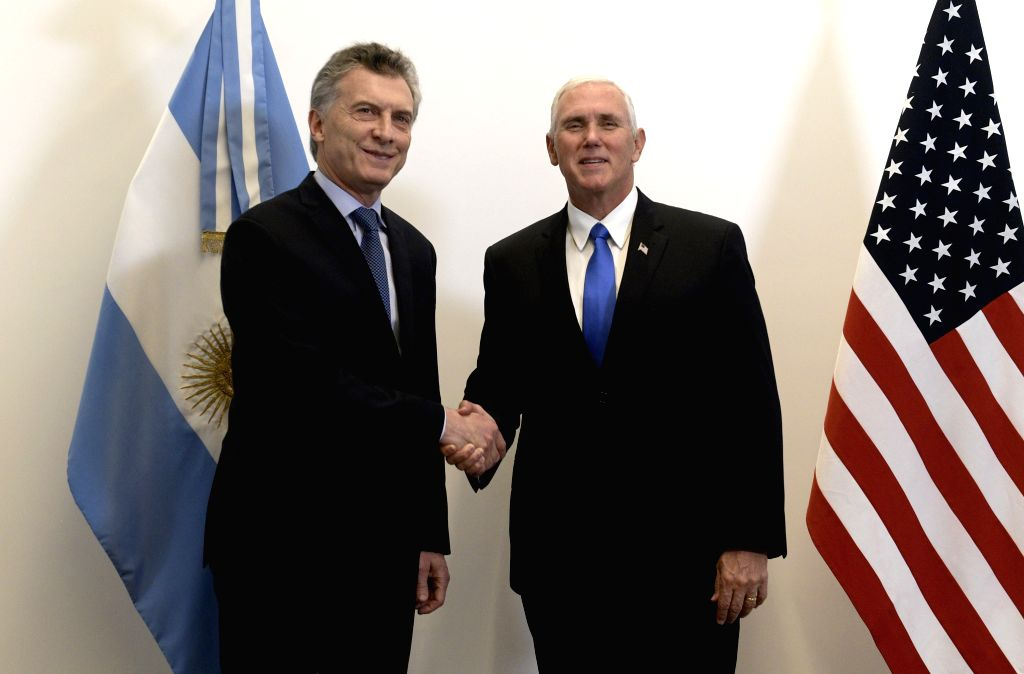 OLIVOS, Aug. 16, 2017 - Argentina's President Mauricio Macri (L) shakes hands with visiting U.S. Vice President Mike Pence at the presidential residence of Quinta de Olivos in the city of Olivos, ...