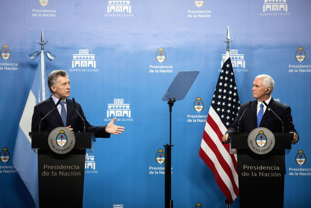 OLIVOS, Aug. 16, 2017 - Argentina's President Mauricio Macri (L) speaks during a press conference with visiting U.S. Vice President Mike Pence at the presidential residence of Quinta de Olivos in the ...