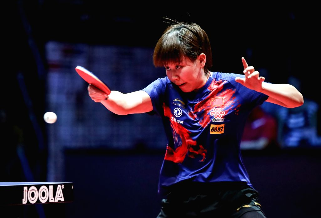 OLOMOUC, Aug. 25, 2019 - Chen Xingtong of China hits a return to Sofia Polcanova of Austria during a women's singles quarterfinal match at the 2019 ITTF Czech Open in Olomouc, the Czech Republic, on ...