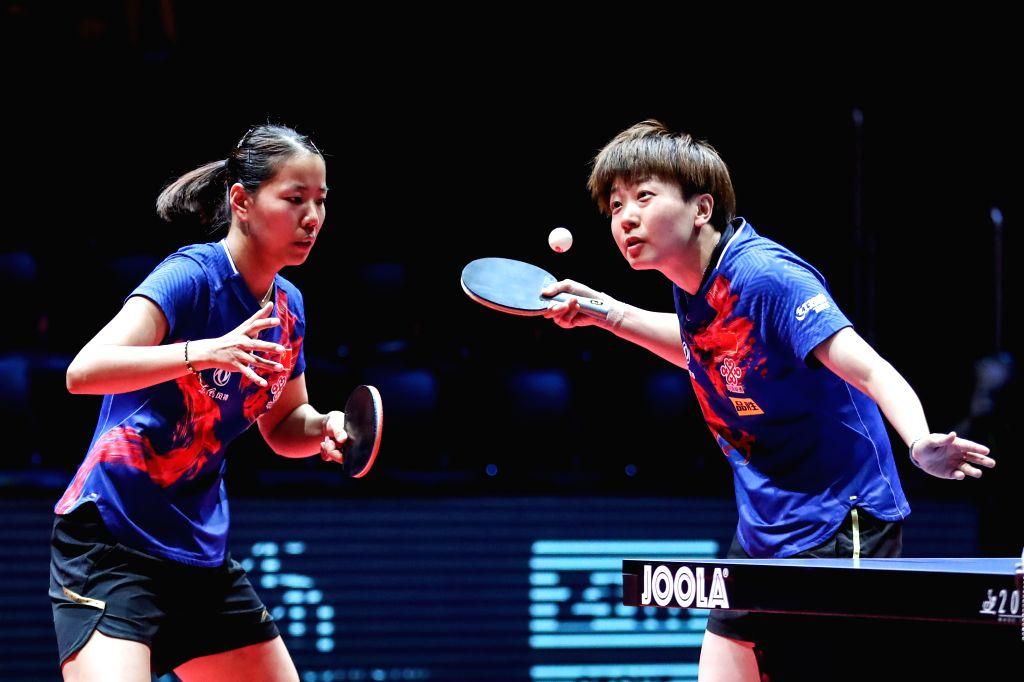 OLOMOUC, Aug. 25, 2019 - Gu Yuting (L)/Mu Zi of China compete during the women's doubles final match against Miu Hirano/Saki Shibata of Japan during the 2019 ITTF Czech Open in Olomouc, the Czech ...