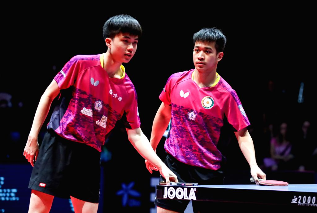 OLOMOUC, Aug. 25, 2019 - Liao Cheng-Ting(R)/Lin Yun-Ju of Chinese Taipei react during the men's doubles final match against Cho Daeseong/Lee Sangsu of South Korea at the 2019 ITTF Czech Open in ...
