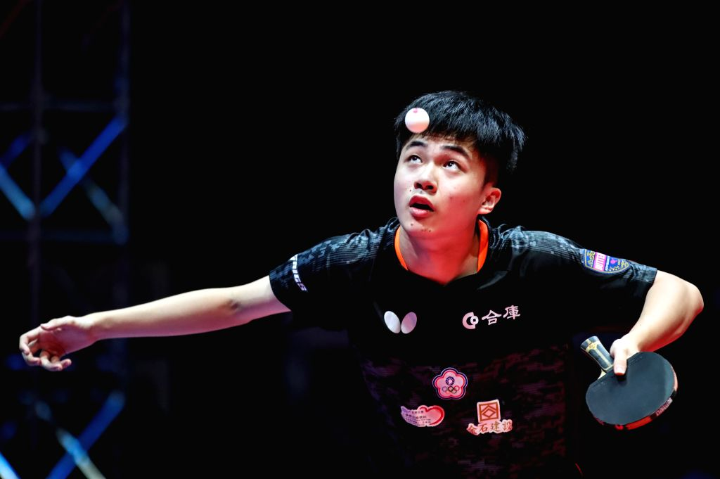 OLOMOUC, Aug. 25, 2019 - Lin Yun-Ju of Chinese Taipei serves the ball during a men's singles semifinal match against Timo Boll of Germany at the 2019 ITTF Czech Open in Olomouc, the Czech Republic, ...