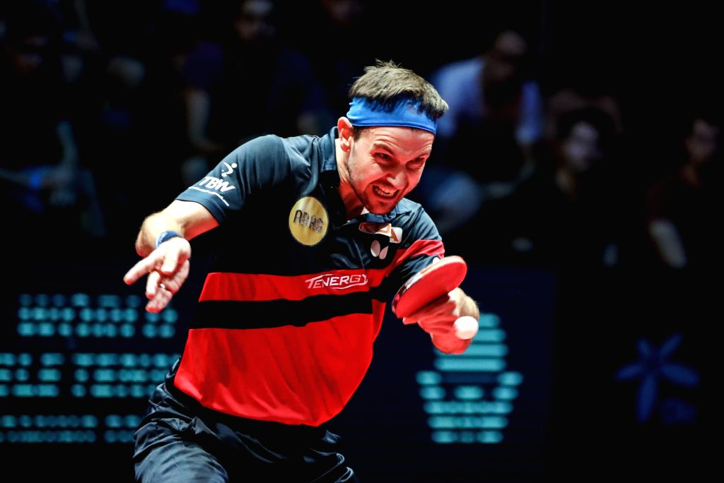 OLOMOUC, Aug. 25, 2019 - Timo Boll of Germany returns the ball during a men's singles semifinal match against Lin Yun-Ju of Chinese Taipei at the 2019 ITTF Czech Open in Olomouc, the Czech Republic, ...