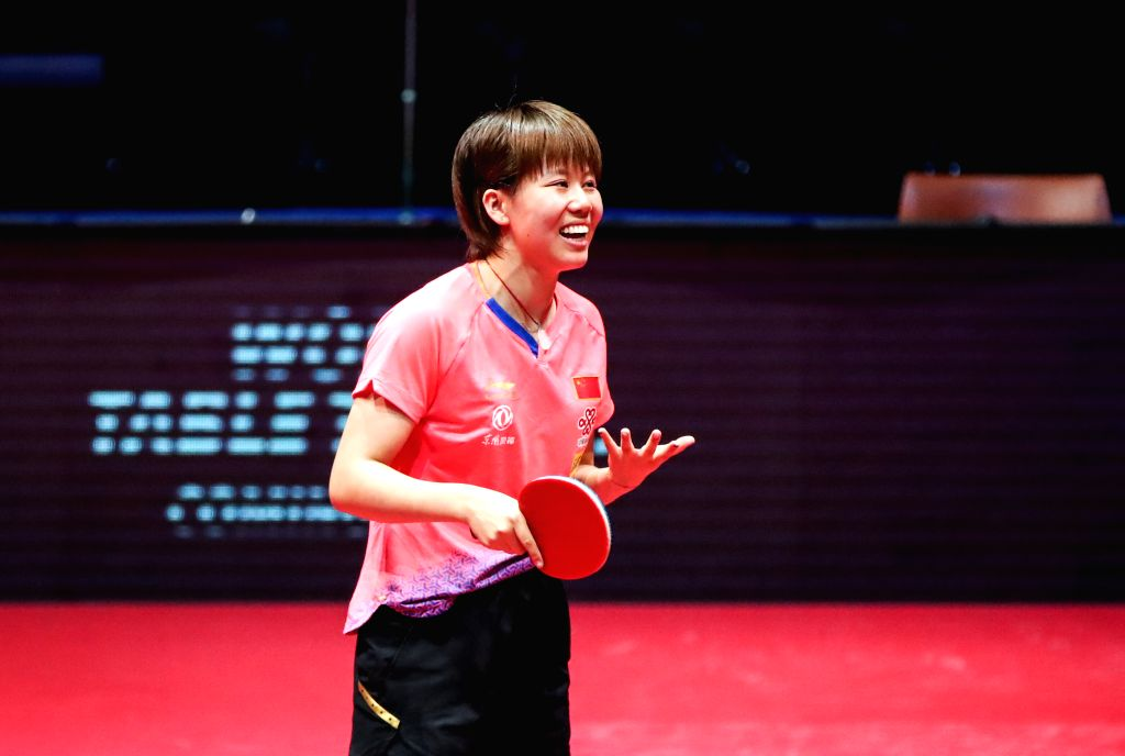 OLOMOUC, Aug. 26, 2019 - Chen Xingtong of China reacts during a women's singles quarterfinal match against her compatriot Feng Yalan at the 2019 ITTF Czech Open in Olomouc, the Czech Republic, Aug. ...