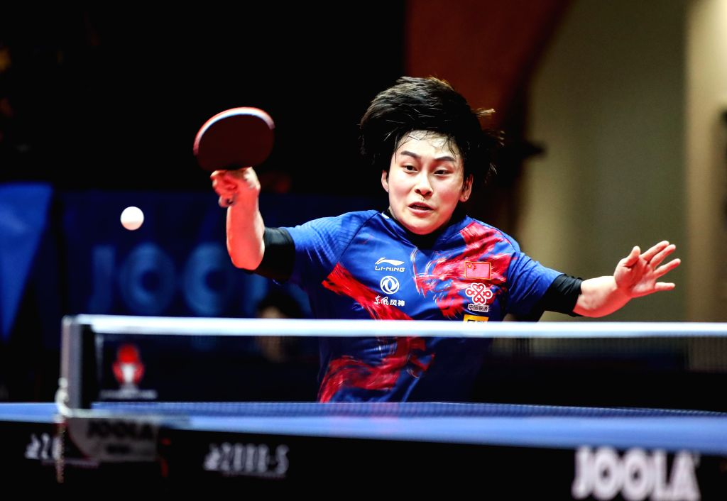 OLOMOUC, Aug. 26, 2019 - Feng Yalan of China returns the ball during a women's singles quarterfinal match against her compatriot Chen Xingtong at the 2019 ITTF Czech Open in Olomouc, the Czech ...
