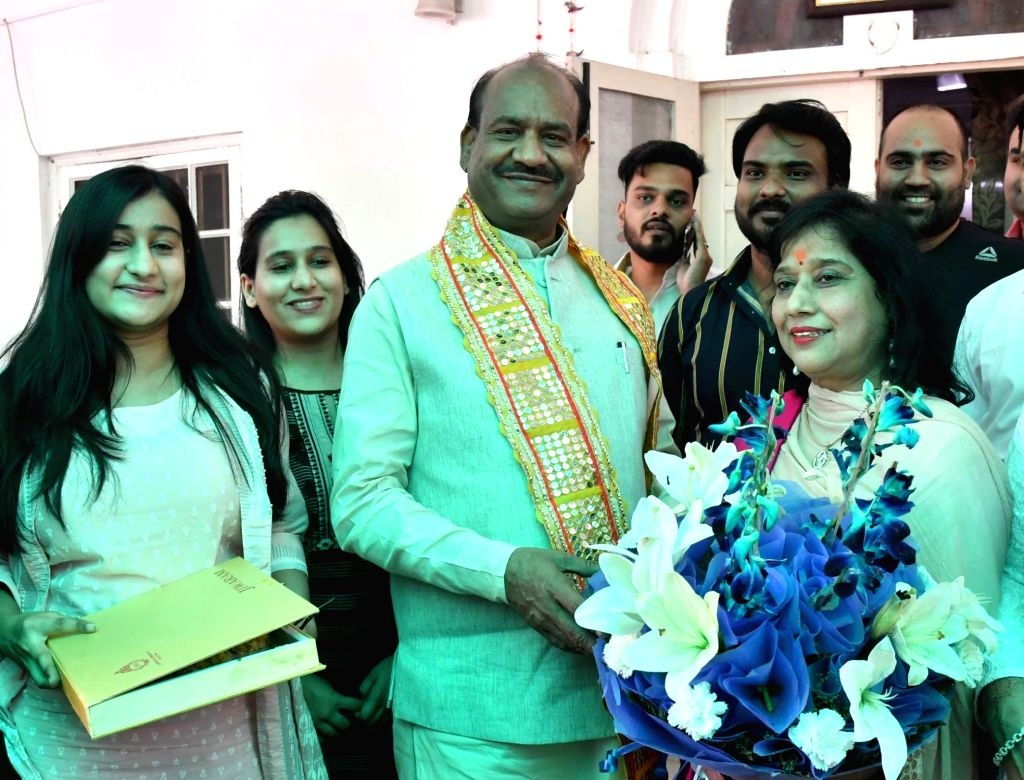 Om Birla, the Bharatiya Janata Party (BJP) MP from Rajasthan, will be the NDA's nominee for Lok Sabha Speaker's post celebrates with his family in New Delhi on June 18, 2019.