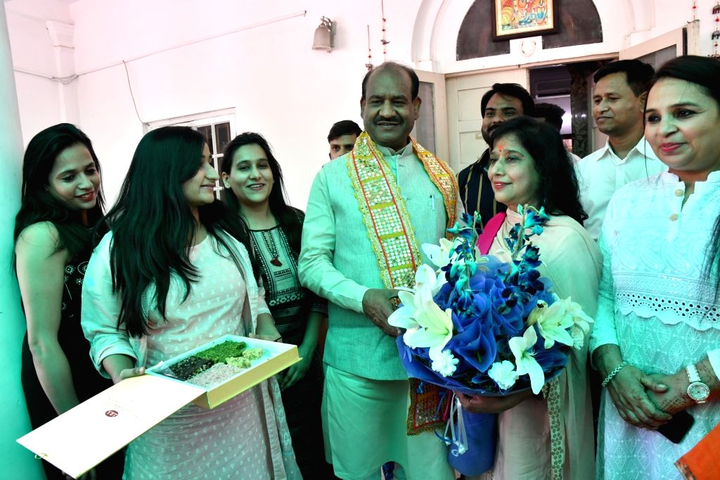 Om Birla, the Bharatiya Janata Party (BJP) MP from Rajasthan, who will be the NDA's nominee for Lok Sabha Speaker's post celebrates with his family in New Delhi on June 18, 2019.