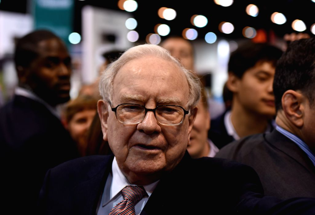 OMAHA, May 7, 2017 - Warren Buffett, chairman and chief executive officer of Berkshire Hathaway views an exhibtion of goods he invested during the annual meeting in Omaha, Nebraska, the United ...