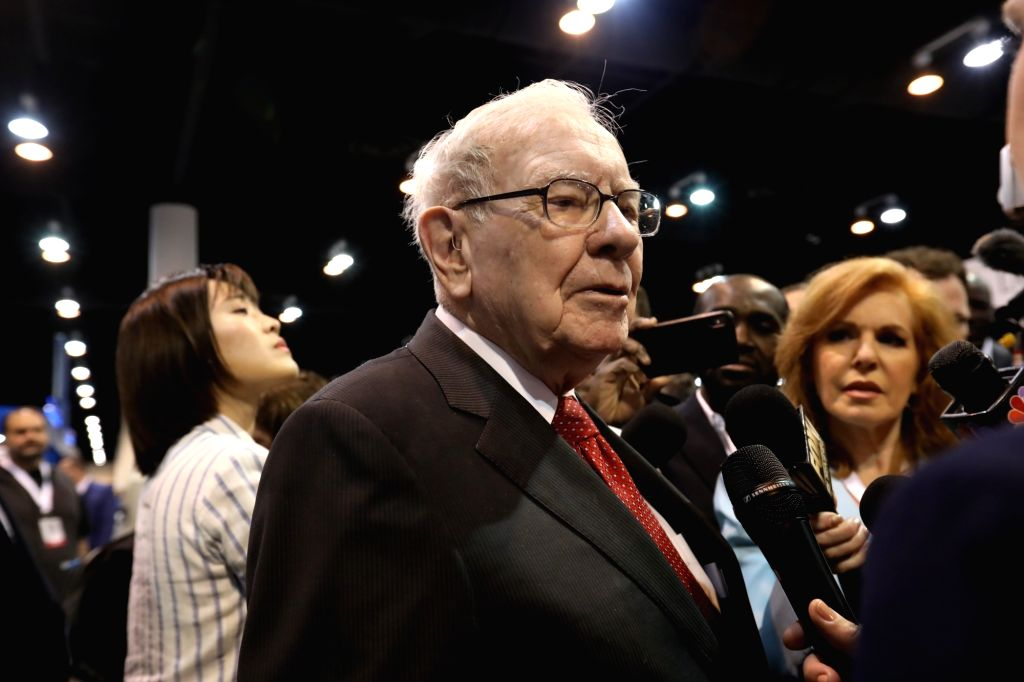 OMAHA (U.S.), May 4, 2019 Warren Buffett, chairman and CEO of Berkshire Hathaway, speaks to reporters during the company's annual shareholders meeting in Omaha, the United States on May ...