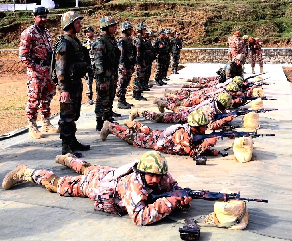 "Oman army personnel practice rifle shooting during the Indo-Oman Joint Army Exercise ""Al Nagah-II 2017"" at Bakloh in Himachal Pradesh, on March 10, 2017."