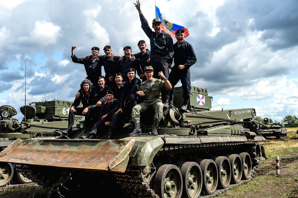 "OMSK (RUSSIA), Aug. 9, 2019 Team of Russia poses for a photo during the ""Maintenance Battalion"" contest during the International Army games 2019 in Omsk, Russia, on Aug. 9, ..."