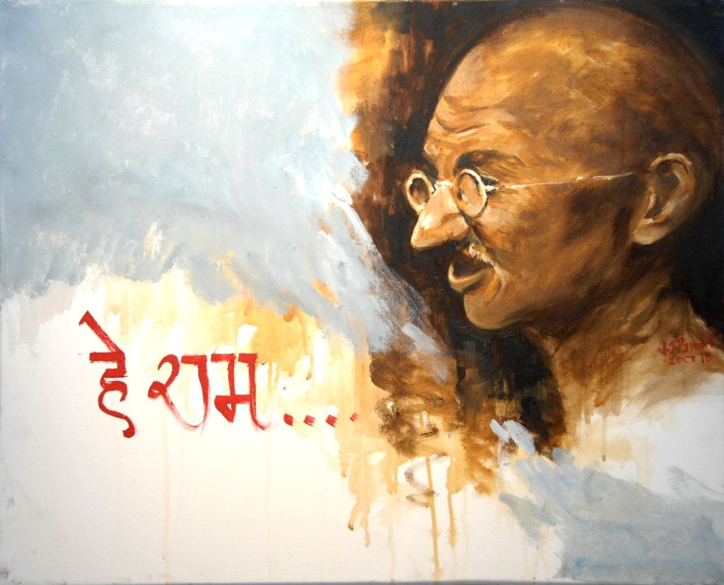On of the pictures exhibited at 'Mahatma Gandhi and World Peace', an exhibition of 75 artworks on the Father of the Nation in New Delhi. (Photo: IANS)