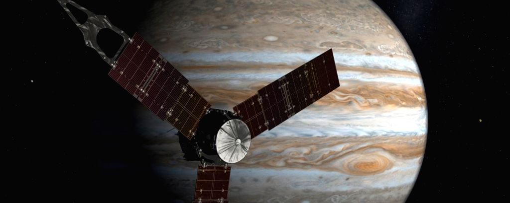 Once in Jupiter's orbit, the 1,600 kg spacecraft will circle the Jovian world 37 times during 20 months, skimming to within 5,000 km above the cloud tops. (An artistic image of Juno, courtesy, NASA)