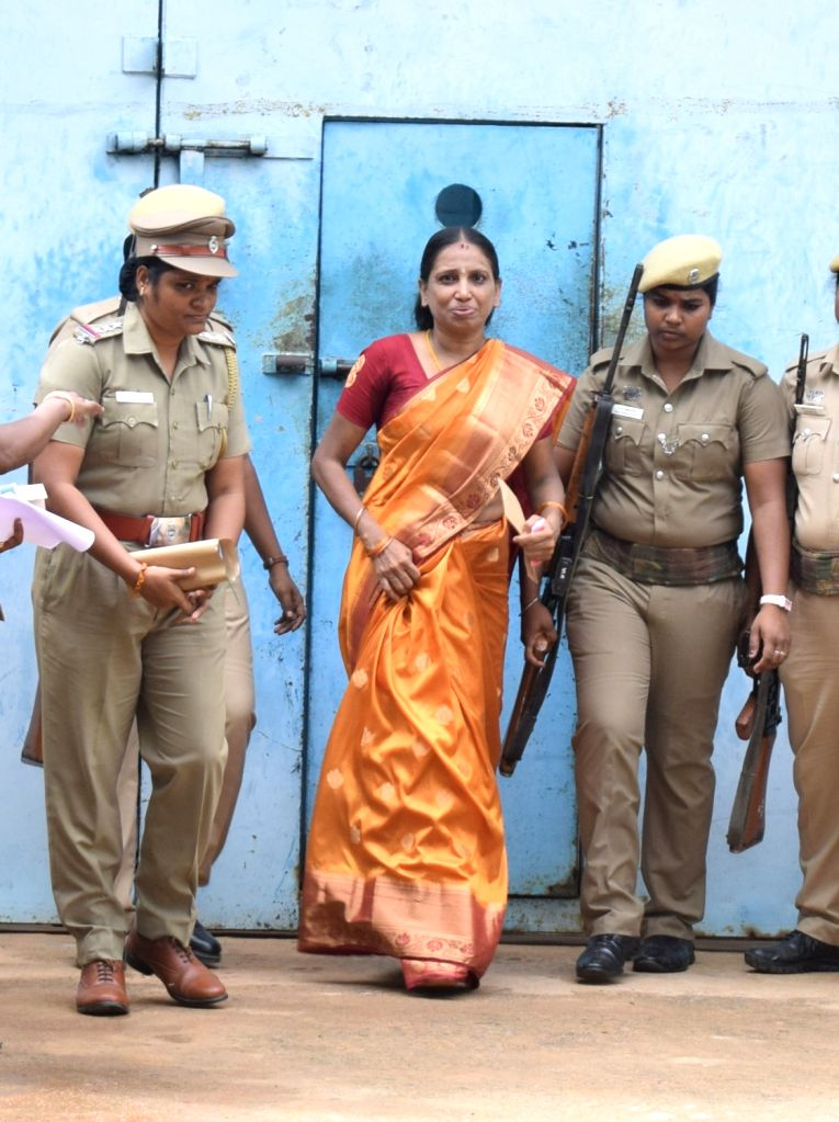 One of the convicts in the former Prime Minister Rajiv Gandhi's assassination case, S. Nalini walks out of the Tamil Nadu's Vellore jail after Madras High Court on July 5 had granted a one ... - Rajiv Gandh